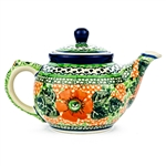 "Beautiful teapot with an 10oz. capacity. Pattern designed and signed by master artist Maria Iwicka. The artist has been connected with the Artistic Handicraft Cooperative ""Artistic Ceramics and Pottery"" since 1981. A pattern designer since 1993. Unikat pa"