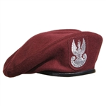Official Polish Army Beret with embroidered eagle. Wool outer shell and fully lined. Cleaning instructions: Hand wash, no bleach, dry flat, do not iron.