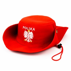 Embroidered Silver Polish Eagle Hat. Display the Polish colors of red and white with this handsome looking hat with detailed embroidery work. The front features an embroidered Polish Eagle made of silver thread with a crown and talons of gold colored