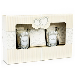 Lovely set of two shot glasses with the traditional Polish toast - Sto Lat!