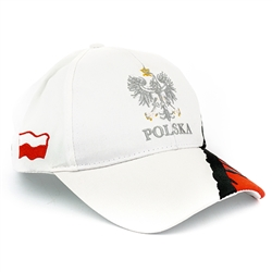 Stylish white cap with silver and white thread embroidery. The cap features a silver Polish Eagle with gold crown and talons. Features an adjustable cloth and metal tab in the back. Designed to fit most people.