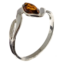 Petite size marquis honey amber set in sterling silver.