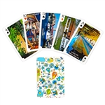 Delightful set of Kashubian playing cards featuring color scenes throughout the Kaszubian region of Poland. Single deck of 52 cards.  Box colors vary.