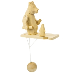 Wooden spin toy from Russia that will bring smiles to all who try it! This bear is getting some serious exercise! A perfect example of an old fashioned action toy.