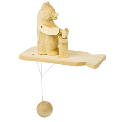 Wooden spin toy from Russia that will bring smiles to all who try it! This bear is taking the hammer to the anvil! A perfect example of an old fashioned action toy.