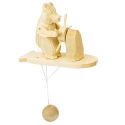 Wooden spin toy from Russia that will bring smiles to all who try it! This bear is manning the wheel of a ship! A perfect example of an old fashioned action toy.