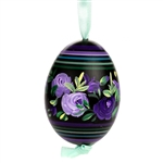 This beautiful hand painted duck egg comes ready to hang. The eggs have been emptied and strung through with ribbon for hanging. No two eggs are exactly alike and ribbon colors vary as well.