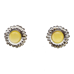Charming sterling silver stud earrings with custard amber center. Size approx 1.5cm diameter.