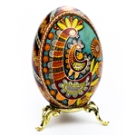 This beautifully designed goose egg is hand made in the Ukraine by artist Volodymyr Kovalenko. Stand sold separately.