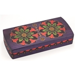 This beautiful box is decorated with a symmetrical red, green, and yellow floral design and features a red and yellow border around the sides of the box. Brass inlays and a rich purple stain complete this unique item.