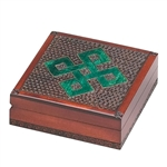 This box has a simple green Celtic knotwork pattern outlined with metal inlay. A mahogany finish and a textured carved background enhances the knotwork design.
