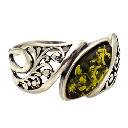 Regal Green Amber Ring