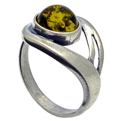 Petite Polish Round Green Amber Ring