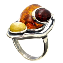 Artistic Three Stone Multi Colored Amber Ring