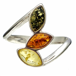 Petite Polish Three Stone Multi Colored Amber Ring