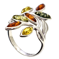 Six Stone Multi Colored Amber Ring