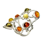 "Large artistic eight stone amber ring set in sterling silver. Size approx 1"" x 1.5""."