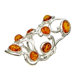 Elegant Eight Stone Honey Amber Ring