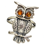 Amber-Eyed Owl Ring