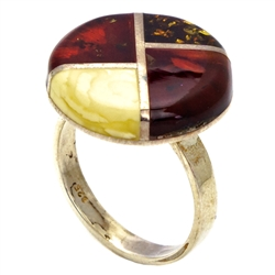 Mosaic Multi Colored Amber Ring