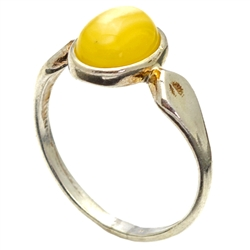 Classic Oval Custard Amber And Silver Ring