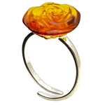 Amber Rose Adjustable Ring set in sterling silver.
