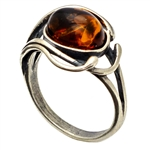 """Sea Breeze"" Polish Round Honey Amber Ring"