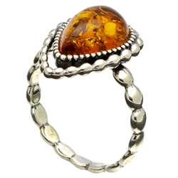 Antique Style Teardrop Honey Amber Ring