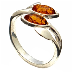 Amber Leaves Honey Amber Ring