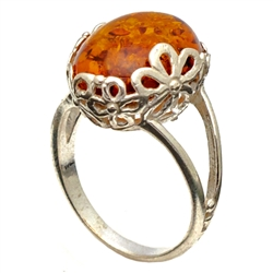Amber Ring Wrapped in Sterling Silver Flowers