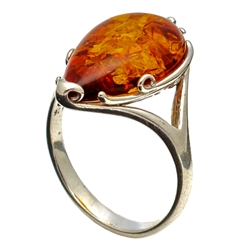 Ornate Teardrop Honey Amber Ring