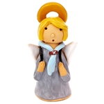 Our beautiful little ceramic angel is dressed in her Polish scouting uniform. Totally hand made and painted in Poland. Stamped and artist initialed on the bottom. No two angels are exactly alike as they are all hand made and painted.