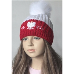 Display your Polish heritage!!  Whiteand red stretch ribbed-knit winter cap with the word Polska and an embroidered Polish Eagle.. Easy care acrylic fabric. Once size fits most. Made In Poland.