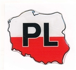 Map Of Poland On A Raised Dye Cut Pliable Sticker With The PL Symbol For Poland.