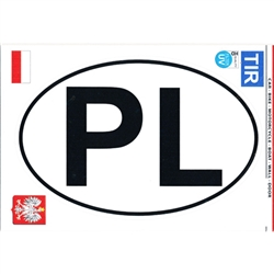 "Large waterproof indoor/outdoor sticker perfect for a heritage room display or on a truck or van. PL are the designated letters for Poland in Europe. Size is approx 7.75"" x 5"""