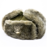 Official Polish Army Officer Winter Fur Hat.  The bottom of the head part and the underside are made of cloth. The front and outer sides of the ear muffs are made of knitted fur. In the center of the head cap is mounted a metal Polish Eagle. Cap from the