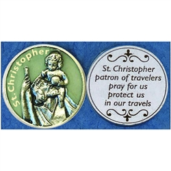 Saint Christopher Glow-in-the-Dark Pocket Token (Coin). Great for your pocket or coin purse.