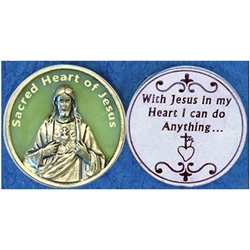 Sacred Heart of Jesus Glow in the Dark Pocket Token (Coin). Great for your pocket or coin purse.