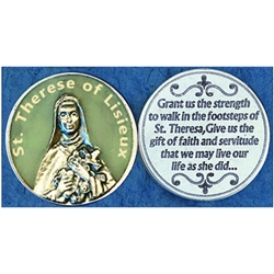 Saint Therese of Lisieux Glow in the Dark Pocket Token (Coin). Great for your pocket or coin purse.