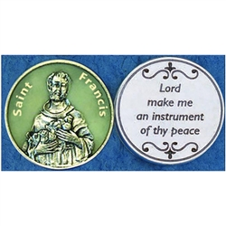 Saint Francis Glow in the Dark Pocket Token (Coin). Great for your pocket or coin purse.