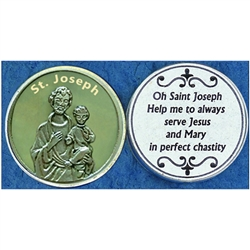Saint Joseph Glow in the Dark Pocket Token (Coin). Great for your pocket or coin purse.