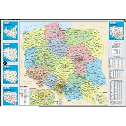 "Map of Poland with two sides in full color. One is the administrative map highlighting Poland's provinces and the other side is a physical map. Perfect for framing. Size is 19.5"" x 27"""