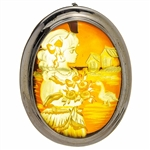 "Beautiful oval shaped sterling silver amber cameo pendant/brooch. Can be worn either as a pendant using the silver loop or as a brooch using the pin. The cameo is hand carved from the back of the pendant. Nicely detailed. Size is approx 1.5"" x 1.25""."