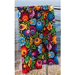 "Polish Bath Towel with paper cut flower pattern from Lowicz. Size approx 19.5"" x 39""