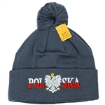 Display your Polish heritage! Stretch fine knit skull cap with the word Polska (Poland) divided by an embroidered Polish Eagle. Easy care acrylic fabric. Once size fits most. Imported from Poland.