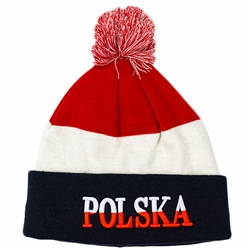 Display your Polish heritage! Stretch fine knit skull cap with the word Polska (Poland) in red and white letters.. Easy care acrylic fabric. Once size fits most. Imported from Poland.
