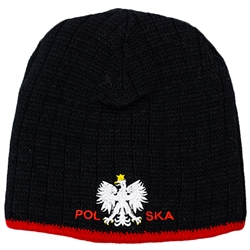 Display your Polish heritage! Stretch knit skull cap with the word Polska (Poland) between the Polish Eagle.. Easy care acrylic fabric. Once size fits most. Imported from Poland.