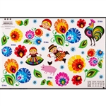 "Folk stickers will bring joy to every child. Take advantage of the opportunity and familiarize yourself with Polish folklore. However, we are convinced that beautiful, colorful flowers will appeal to adults as well Sheet size is approx 8"" x 12"".  30 stick"