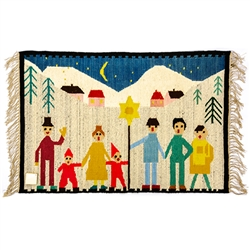 "Beautiful hand woven wool wall-hanging depicting the Polish custom of caroling at Christmas time. Size approx. 44"" x 30"" not including the fringe."