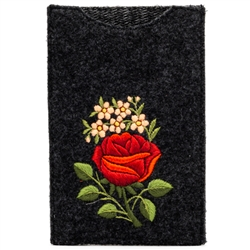 Soft charcoal black felt sewn case with hand embroidered Lowicz folk flowers on one side. Beautiful and functional. Floral Designs Vary